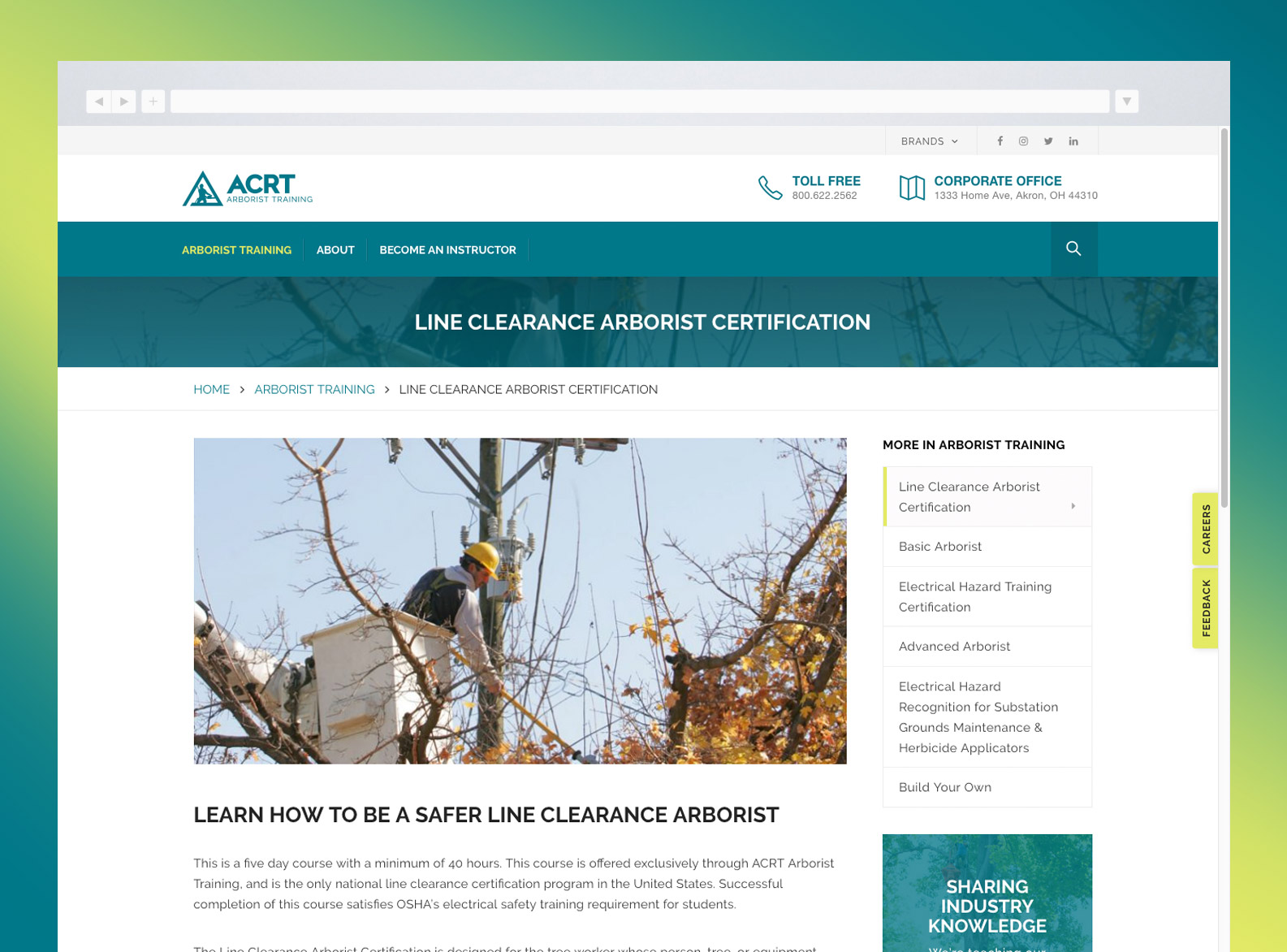 ACRT Arborist Training Website Services