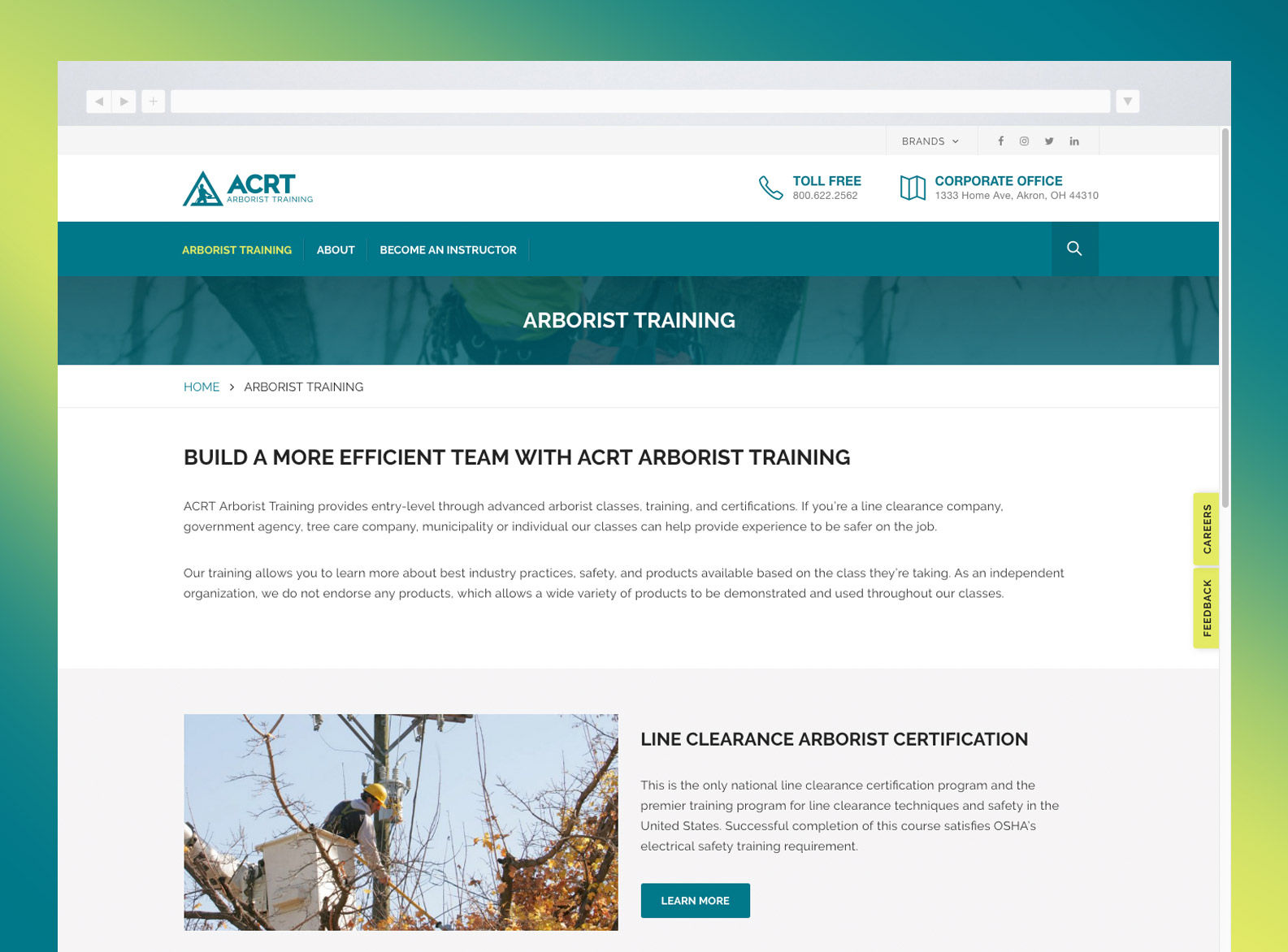 ACRT Arborist Training Website