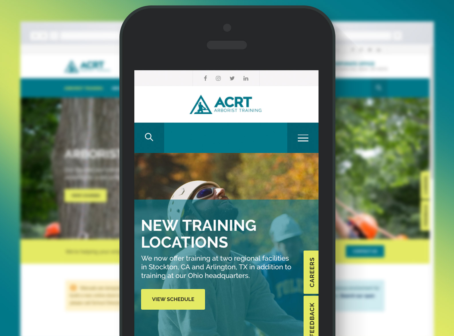 ACRT Arborist Training Website Mobile