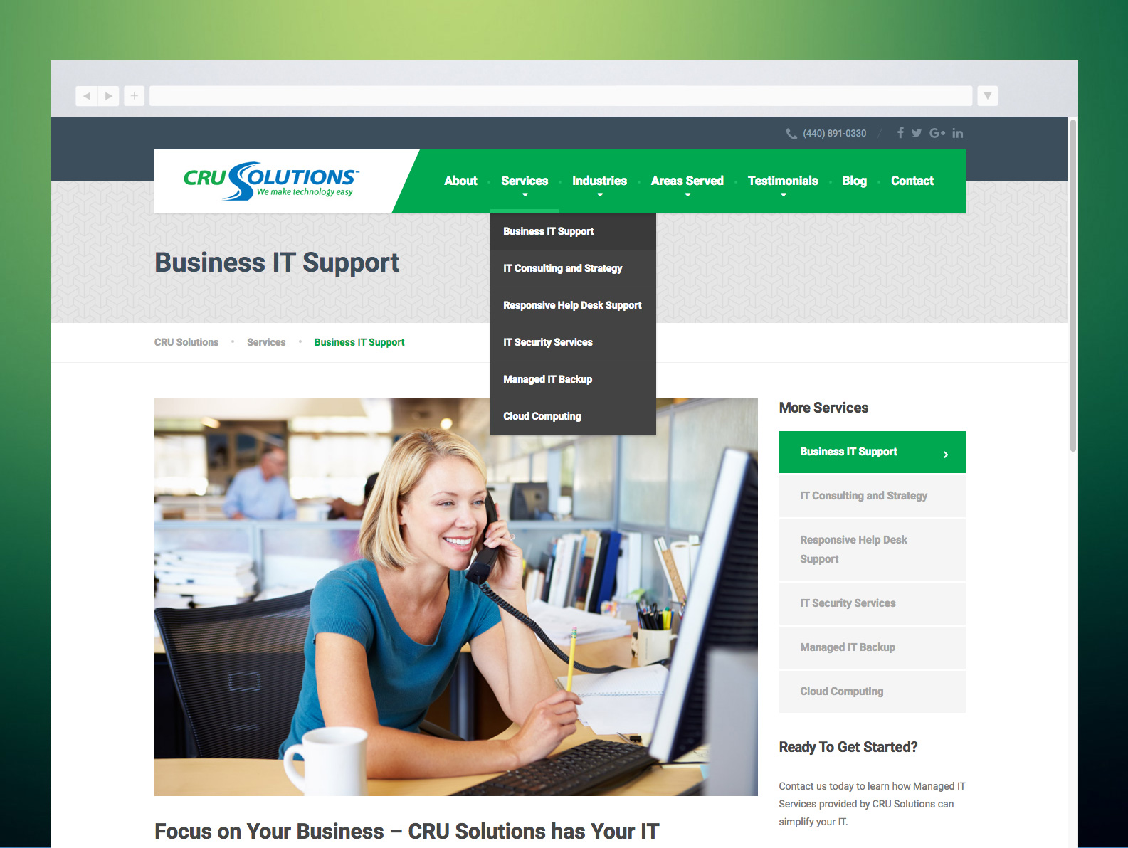 CRU Solutions Website Service