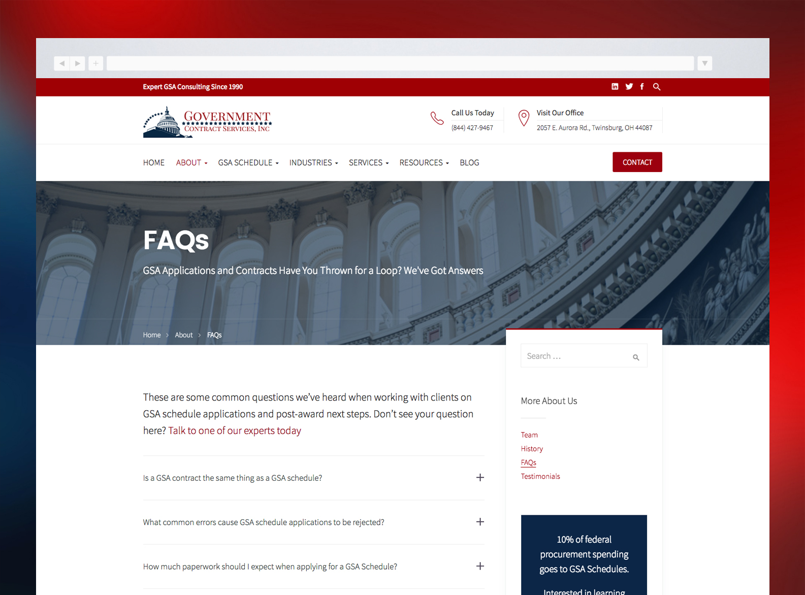 Government Contract Services Website FAQs