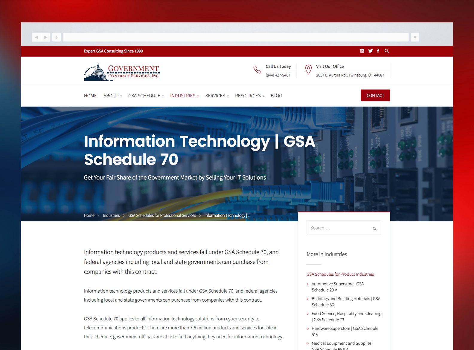 Government Contract Services Website Industries