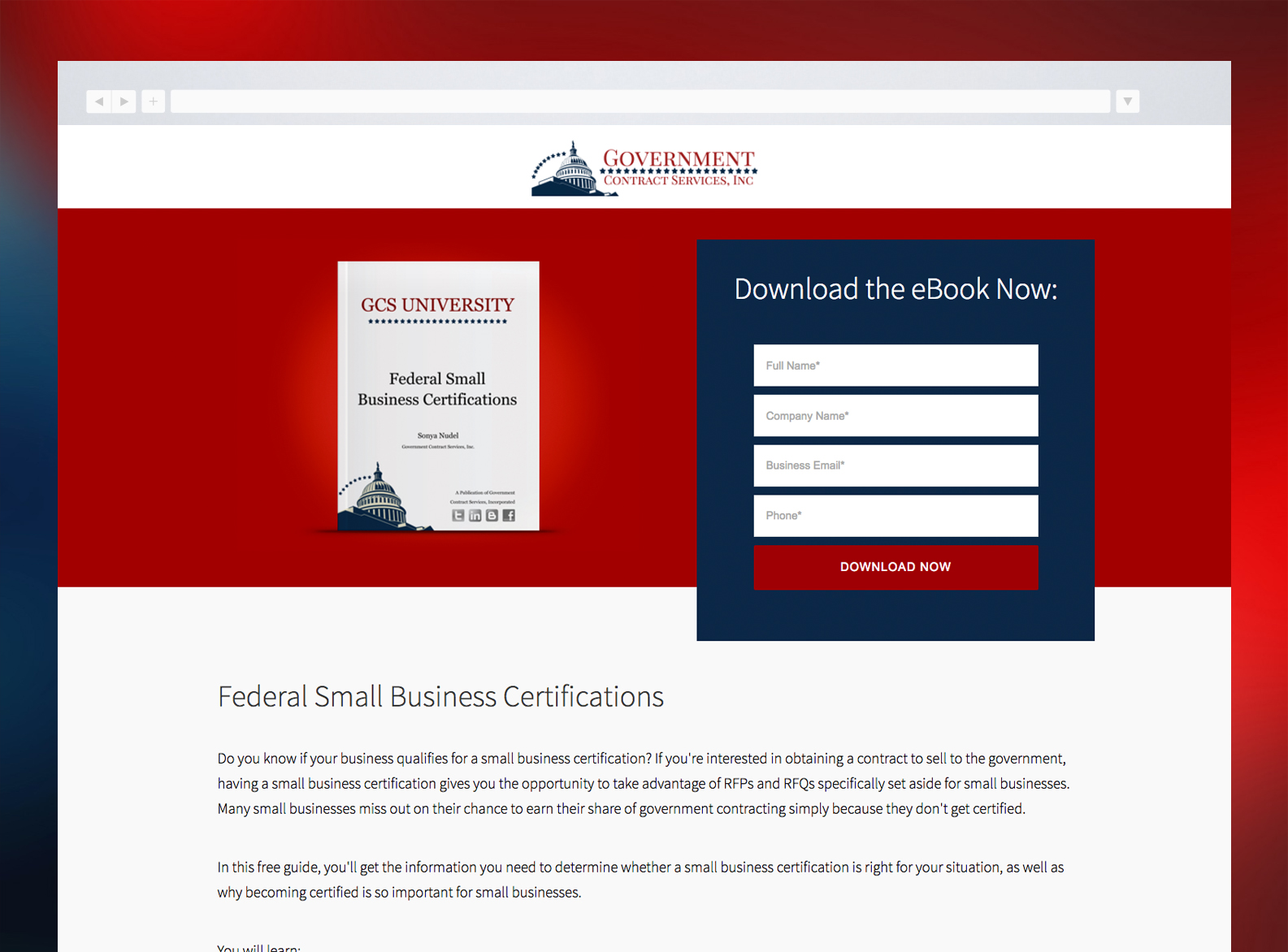 Government Contract Services Website Landing Page