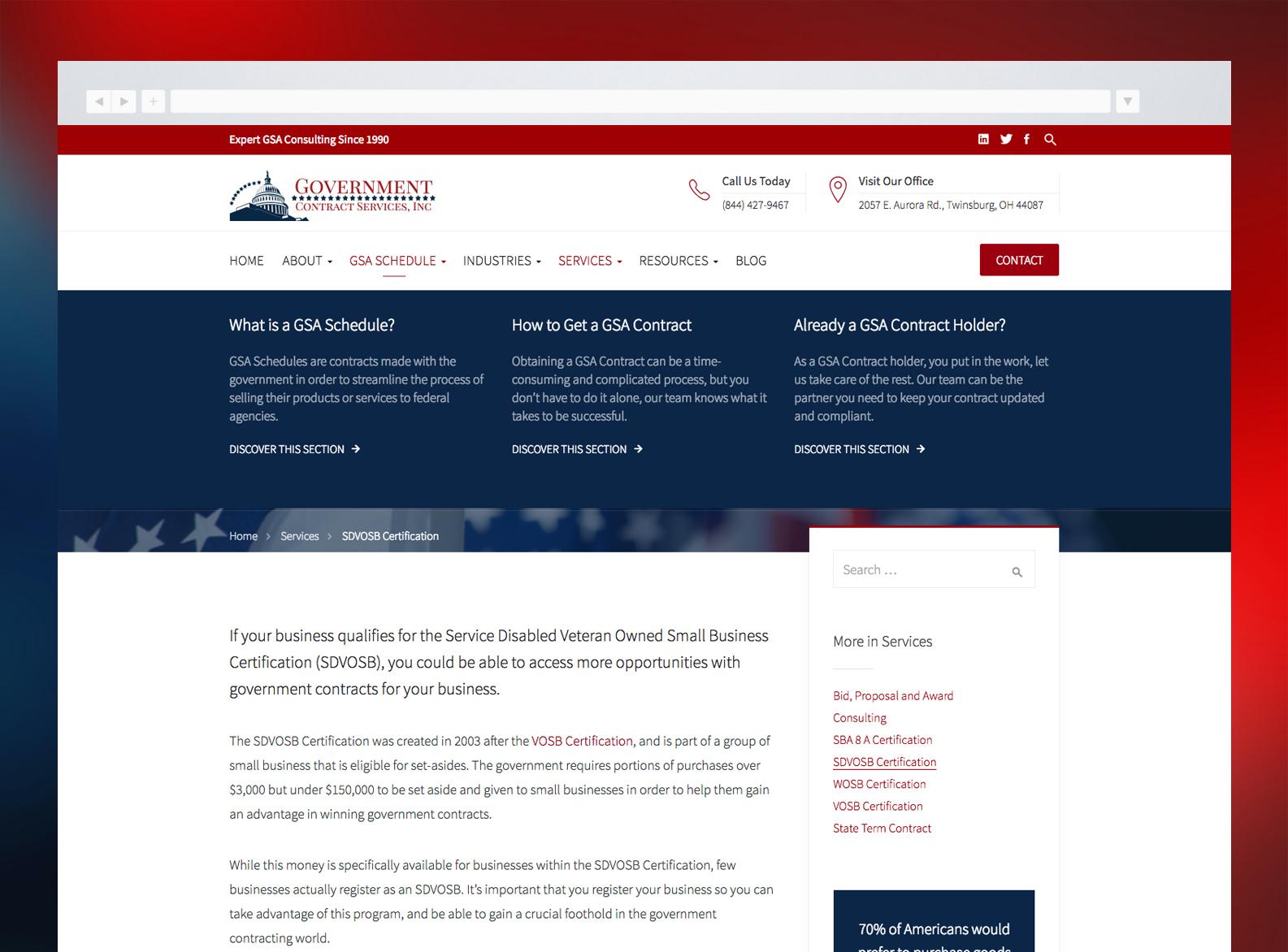 Government Contract Services Website Mega Menu