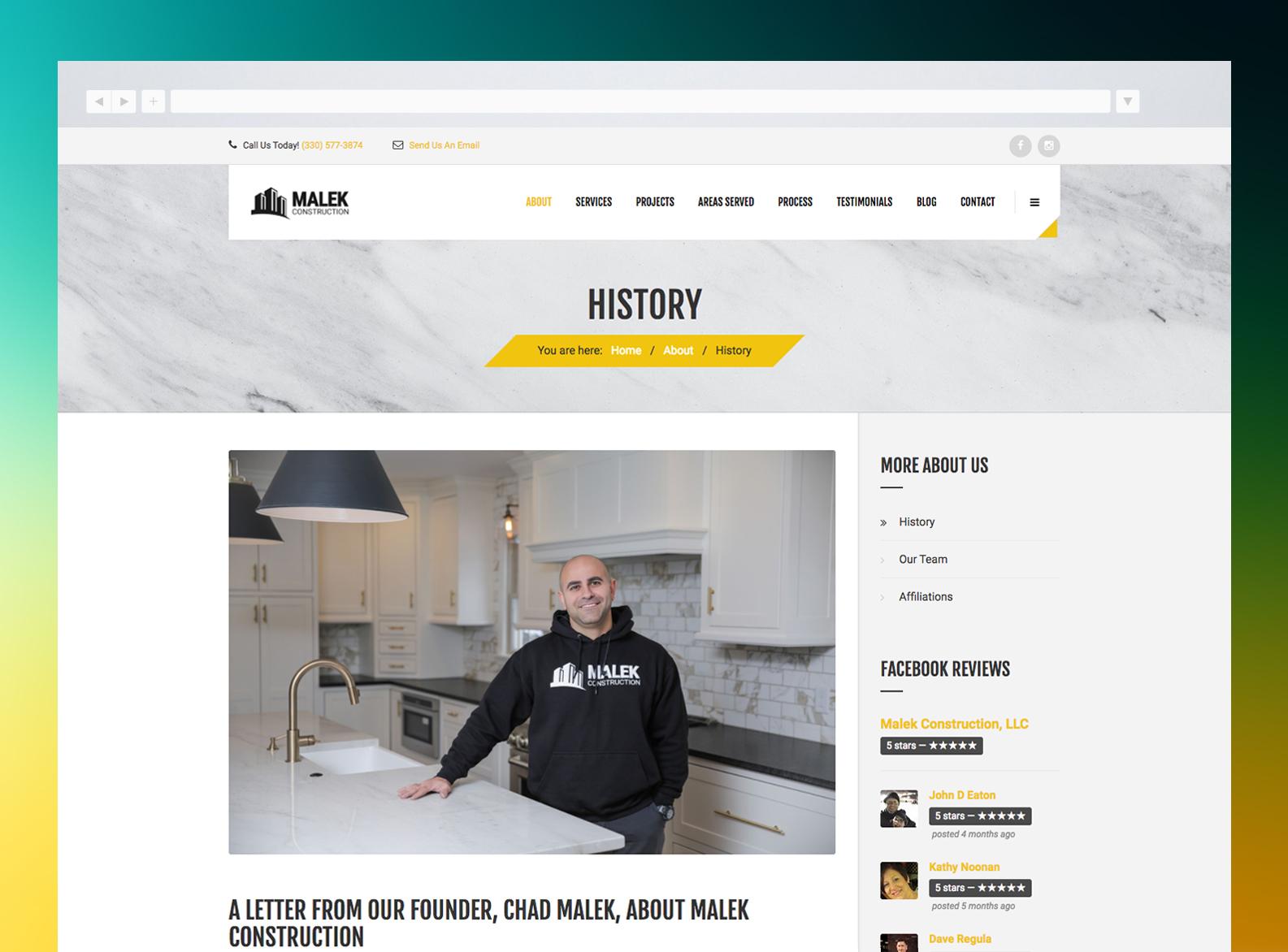 Malek Construction Website About