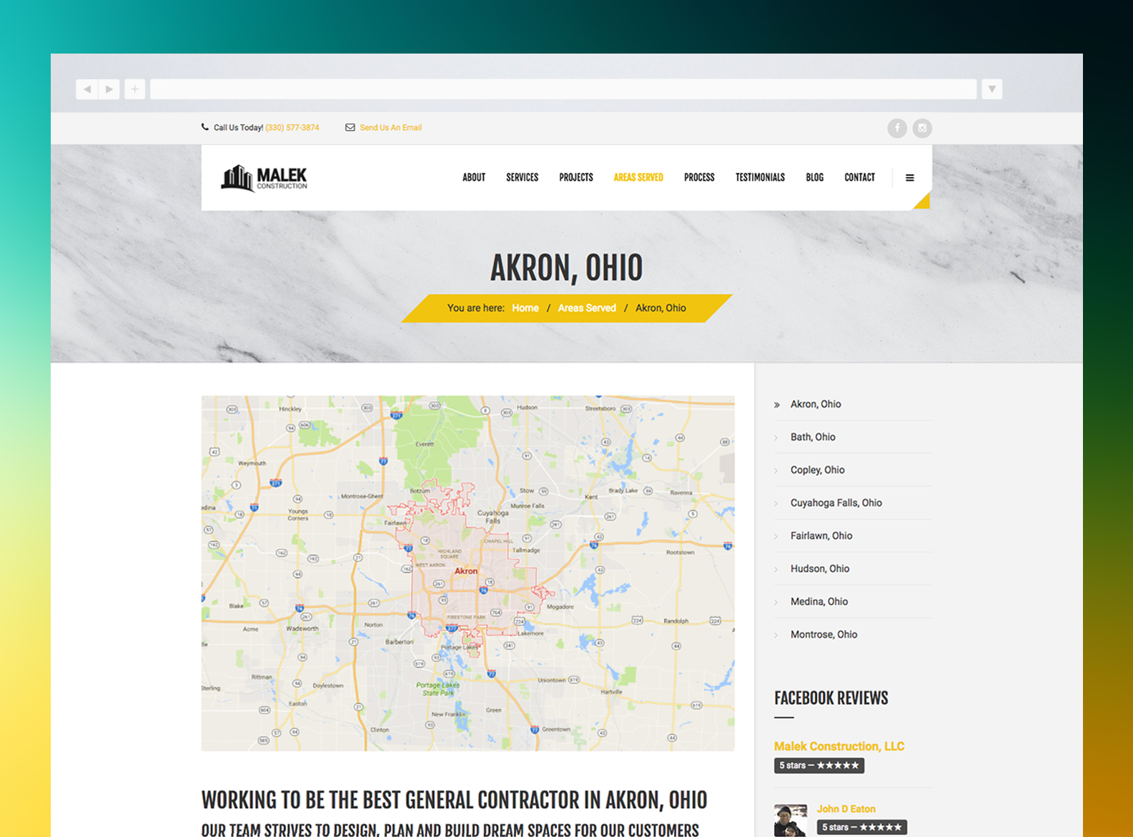 Malek Construction Website Areas Served