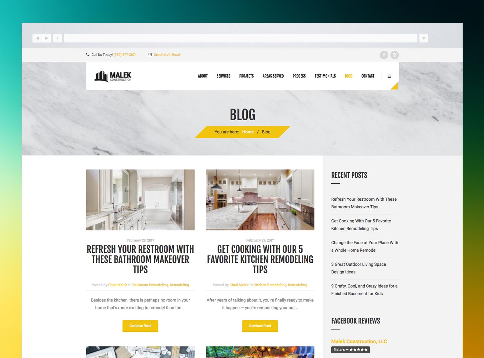 Malek Construction Website Blog