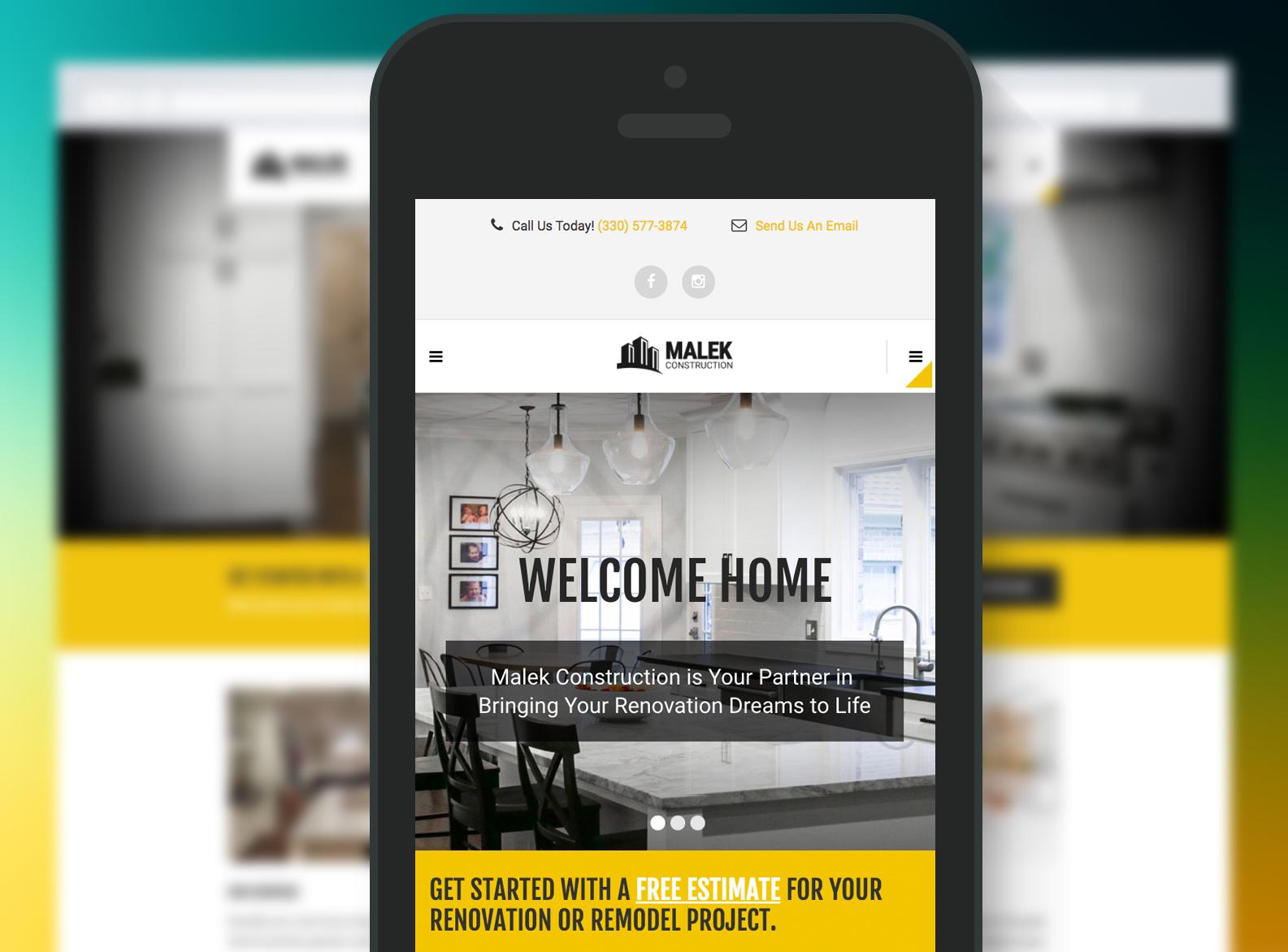 Malek Construction Website Mobile