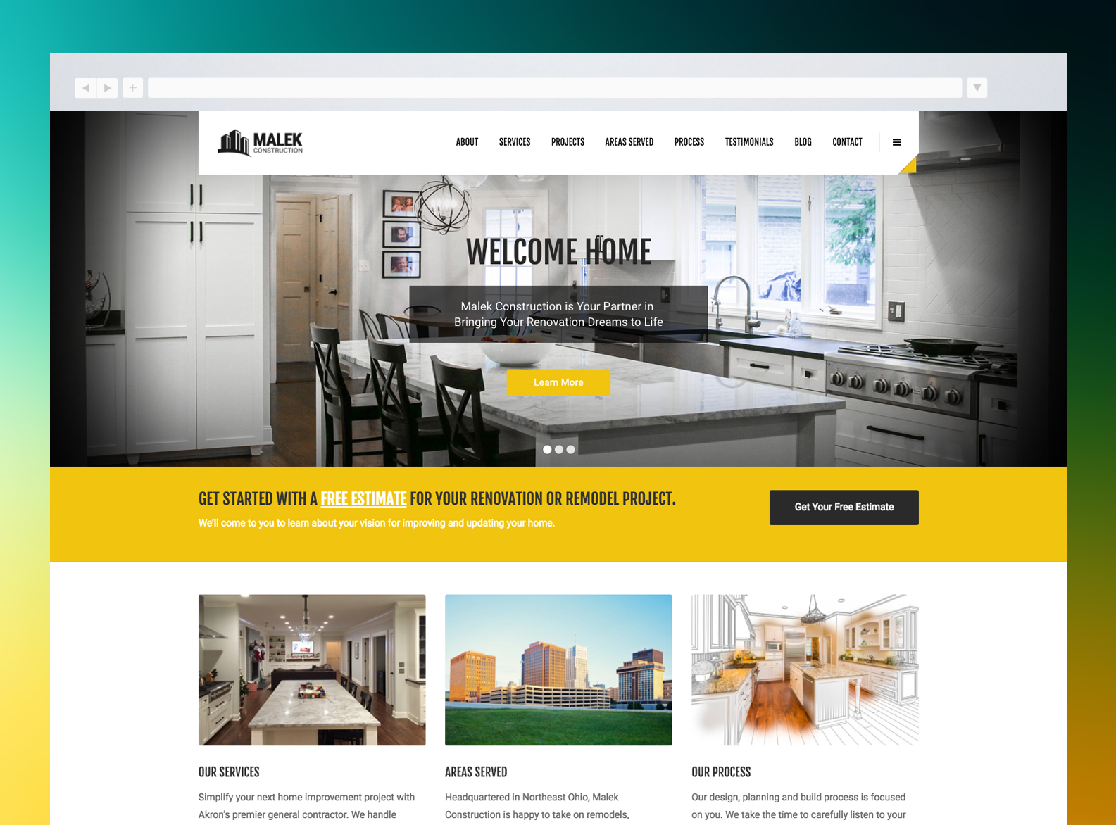 Malek Construction Website
