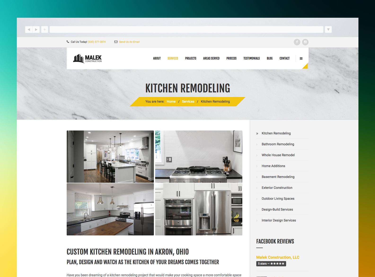 Malek Construction Website Services