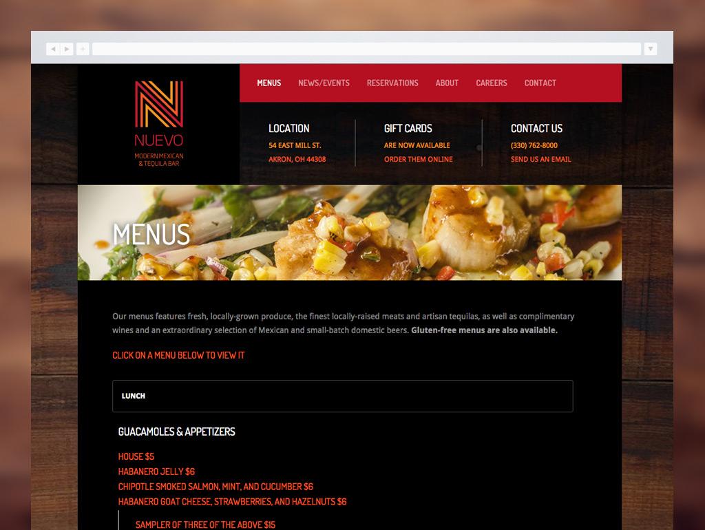 Nuevo Modern Mexican Website Detail