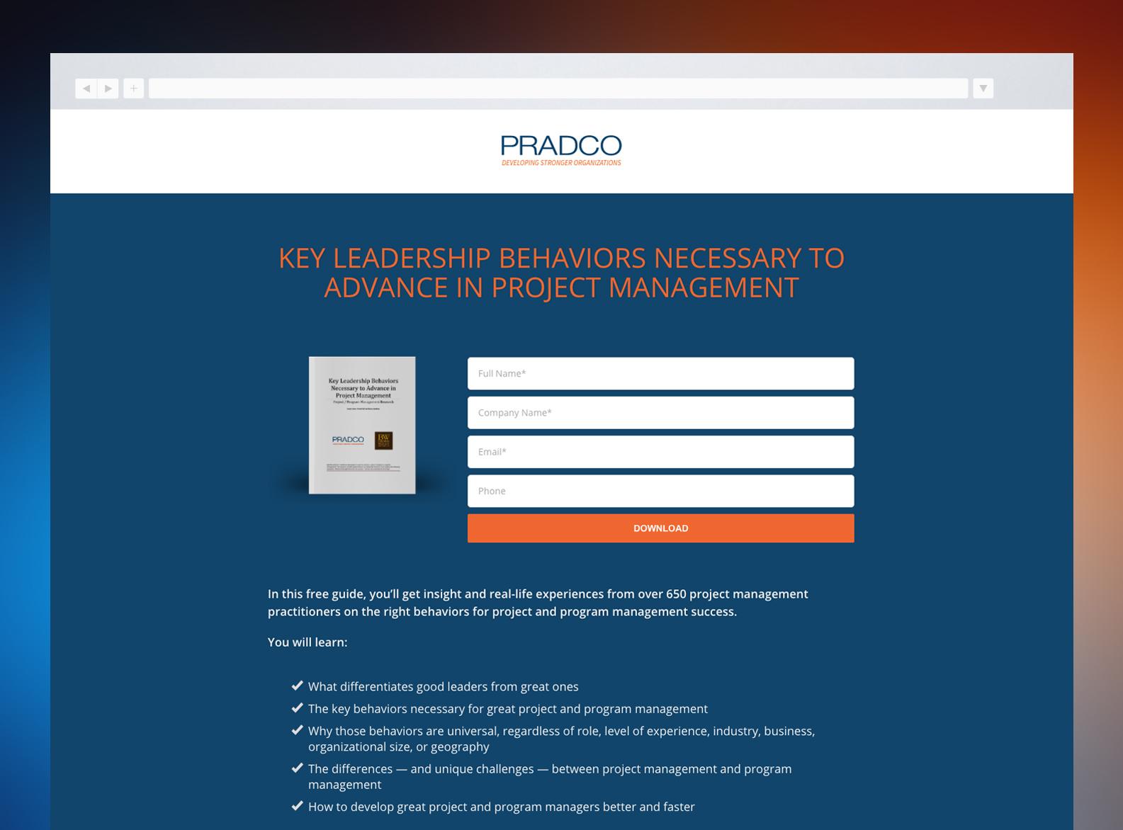 PRADCO Website Landing Page