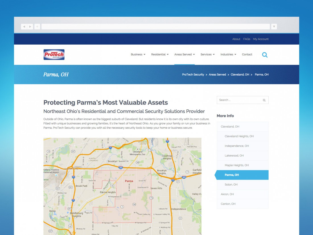 ProTech Security Website Areas Served
